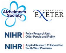 Alzheimers Society Uni Exeter NIHR Badge